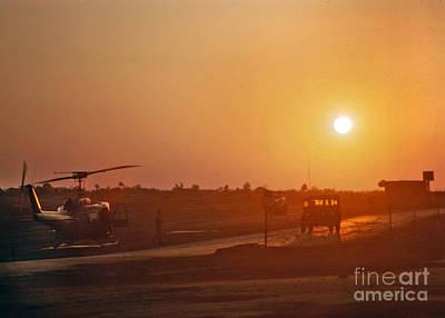 Photograph - Sunset Over Uh-1 Huey Helicopter Camp Enari Vietnam 1968 by California Views Archives Mr Pat Hathaway Archives