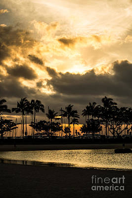Photograph - Sunset Over Waikiki by Angela DeFrias