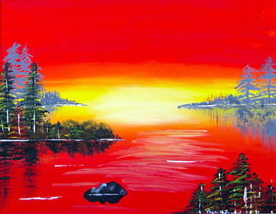 Painting - Sunset Over Water by Artistic Indian Nurse