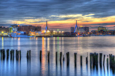 Photograph - Sunset Over Zakim Bridge And Boston Harbor by Joann Vitali