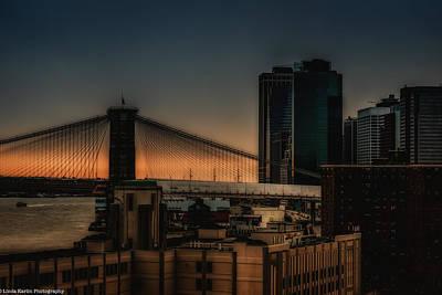 Art Print featuring the photograph Sunset Overlooking The Brooklyn Bridge New York by Linda Karlin