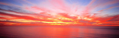Sunset Pacific Ocean, California, Usa Art Print