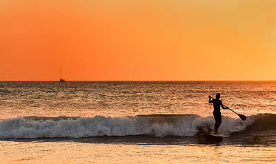 Stand Up Paddle Board Photograph - Sunset Paddleboard Surfer by Mary Jo Allen