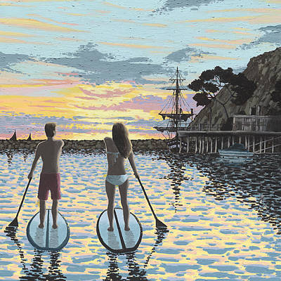 Surfer Girl Painting - Sunset Paddleboarding by Andrew Palmer