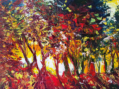 Sunset Painting Oil Fine Art Ekaterina Chenrova Art Print