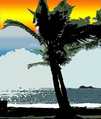 Art Print featuring the digital art Sunset Palm by Karen Nicholson