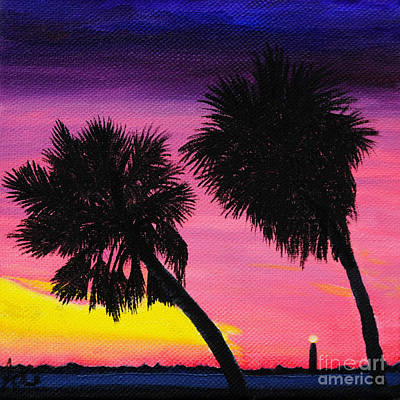 Sunset Palms At Fort Desoto Art Print