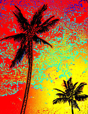 Art Print featuring the photograph Sunset Palms by David Lawson