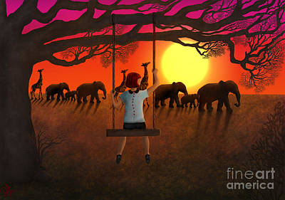 Sunset Parade Art Print by Rosa Cobos