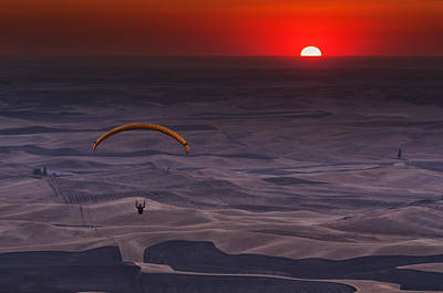 Wheat Field Sky Photograph - Sunset Paragliding by Mark Kiver