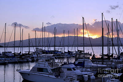 Art Print featuring the photograph Sunset Pearl Harbor by Gina Savage