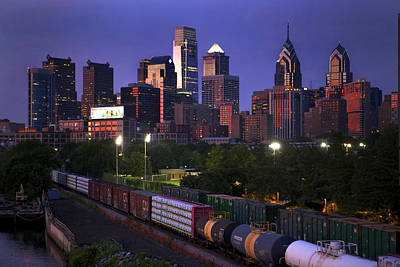 Train Mixed Media - Philly Sunset  by Kenny  Noddin