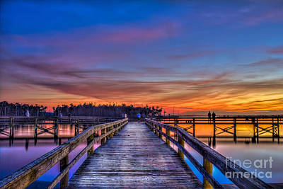 Sunset Pier Fishing Art Print
