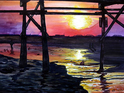 Sunset Pier Art Print by Lil Taylor