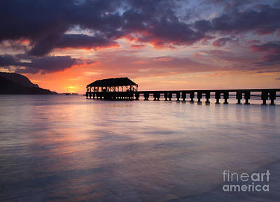 Kauai Photograph - Sunset Pier by Mike  Dawson