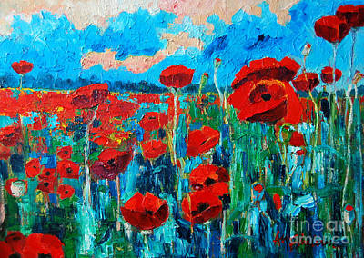 Cloudy Day Painting - Sunset Poppies by Ana Maria Edulescu