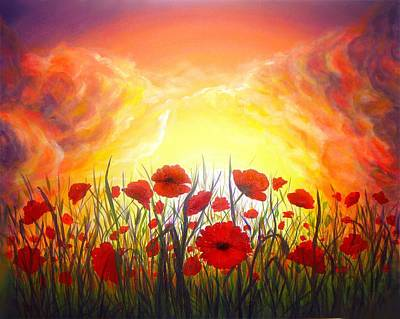 Hand Painted Art Work Painting - Sunset Poppies by Lilia D