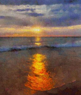 Tourist Attraction Painting - Sunset Reflection At Sleeping Bear Dunes by Dan Sproul