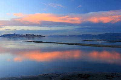 Sunset Reflection At The Great Salt Lake Art Print by Johnny Adolphson