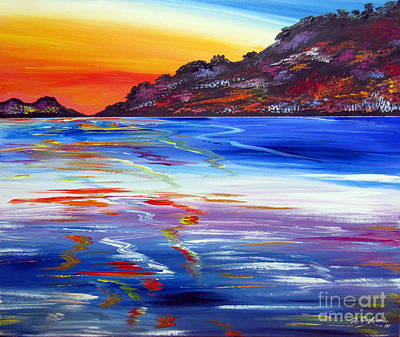 Painting - Sunset Reflection On The Lake by Roberto Gagliardi