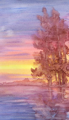Art Print featuring the painting Sunset Reflection by Rebecca Davis