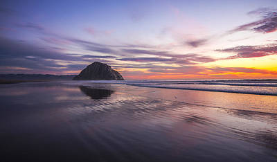 Photograph - Sunset Reflections At Morro Bay Beach Rock Fine Art Photography Print by Jerry Cowart