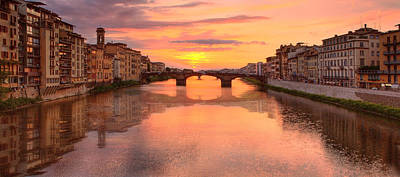 Sunset Reflections In Florence Italy Art Print