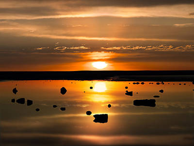 Photograph - Sunset Reflections by Leland D Howard