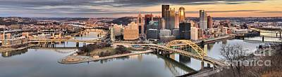 Photograph - Sunset Reflections Of Pittsburgh by Adam Jewell
