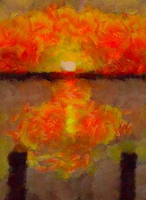 Dock Mixed Media - Sunset Reflections On The Dock by Dan Sproul