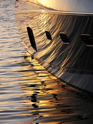 Photograph - Sunset Reflections With Boat No 1 by Ben and Raisa Gertsberg
