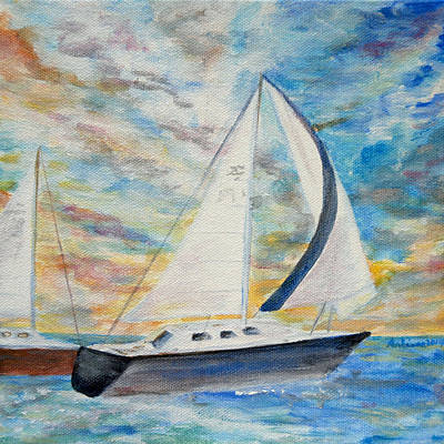 Sunset Regatta Original by Arlissa Vaughn