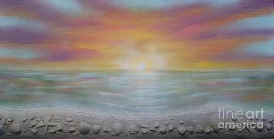 Abstract Seascape Mixed Media - Sunset by Robert Murdock