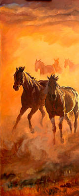 Wild Horse Painting - Sunset Run L by Jana Goode