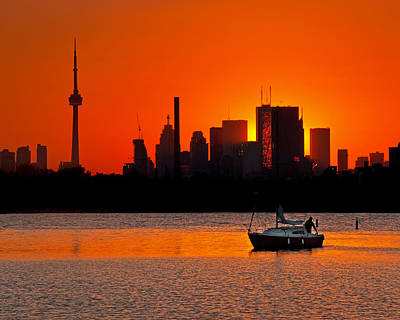 Photograph - Sunset Sail Ashbridges Bay Toronto Canada by Brian Carson