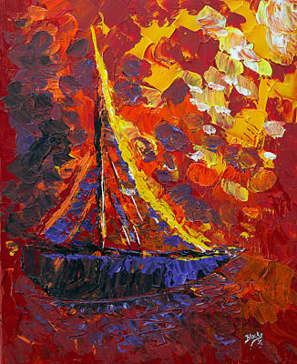 Painting - Sunset Sail by Donna Blackhall
