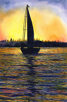 Ocean Sunset Painting - Sunset Sail by Karen Wright