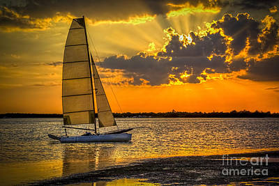 Sunrays Photograph - Sunset Sail by Marvin Spates