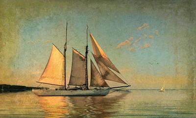 Maritime Mixed Media - Sunset Sail by Michael Petrizzo
