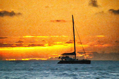 Mixed Media - Sunset Sail Off Maui by Kayta Kobayashi