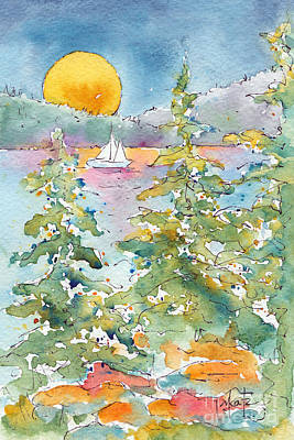 Painting - Sunset Sail On Waskesiu Lake by Pat Katz