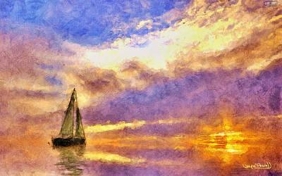 Sunset Sail Art Print by Wayne Pascall