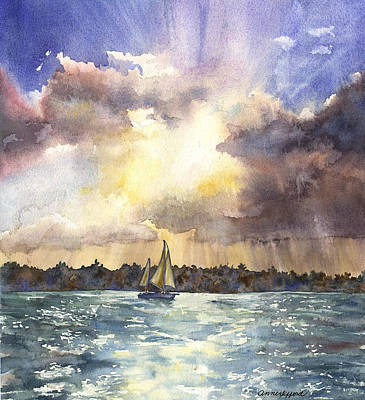 Sailboat Ocean Painting - Sailing Into The Sunset by Anne Gifford