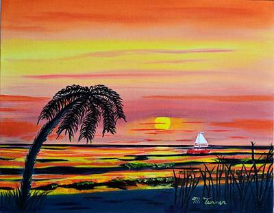 Painting - Sailing At Sunset by Melvin Turner