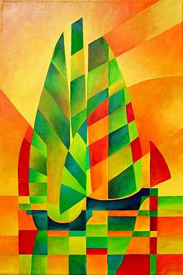 Print featuring the painting Sunset Sails And Shadows by Tracey Harrington-Simpson