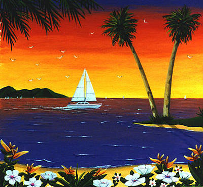 Painting - Sunset Sails by Lance Headlee
