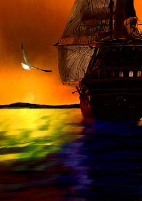 Painting - Sunset Sails by Lourry Legarde