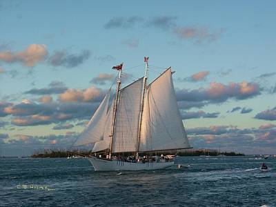 Photograph - Sunset Schooner by R B Harper