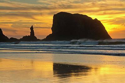 Sunset, Sea Stacks, Bandon By The Sea Art Print