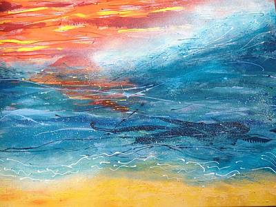 Sunset Seascape Art Print by Judi Goodwin